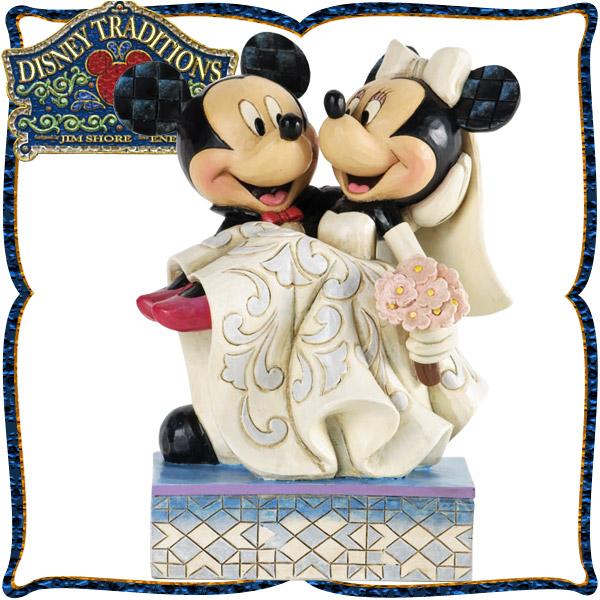 ディズニー 木彫り調フィギュア ミッキーマウス ミニーマウス 「Congratulations」 結婚おめでとう! ディズニー・トラディション