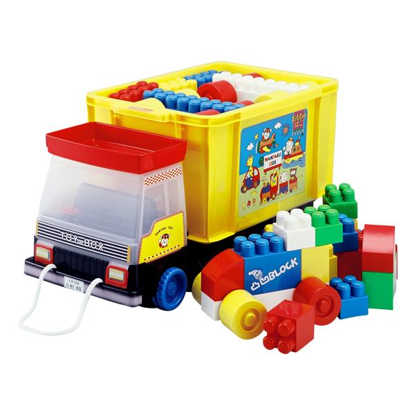 知育玩具  凸凹 ブロック ダンプカー型おもちゃ箱入り  51ピース