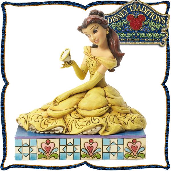 ディズニー プリンセス 木彫り調フィギュア ベルとチップ (美女と野獣) 「Belle with Chip」 ディズニー・トラディション