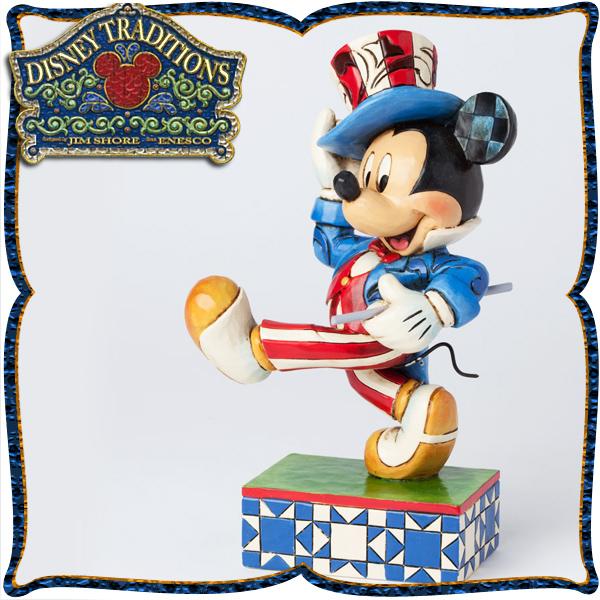 ディズニー 木彫り調フィギュア ミッキーマウス 「アメリカ大好き!」 ディズニー・トラディション