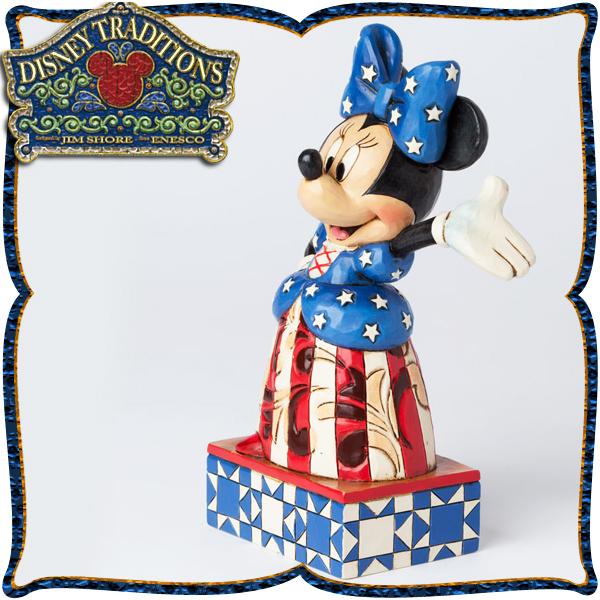 ディズニー 木彫り調フィギュア ミニーマウス 「アメリカ大好き!」 ディズニー・トラディション