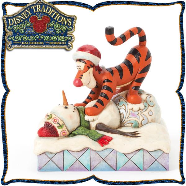 ディズニー 木彫り調フィギュア ティガー(くまのプーさん) 「Tiger with Snowman」 雪だるまと遊ぼ ディズニー・トラディション 在庫限り