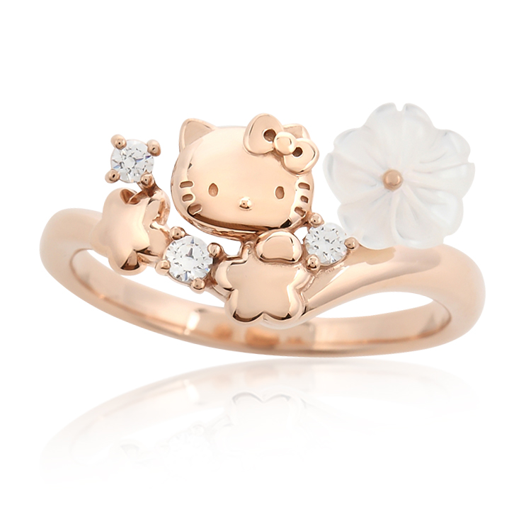 Hello Kitty Ring Ring Accessories 11 Pink Gold Flower Bouquet Sanrio Petit  Gift