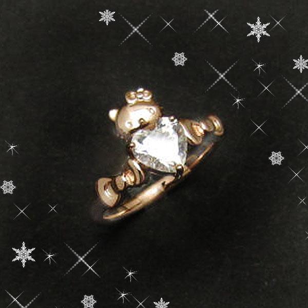 ハローキティ ハート&リボン CUTEリング 指輪 アクセサリー  11号 ピンクゴールド SV925  キュービックジルコニア 専用BOX付
