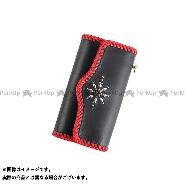 【エントリーで更にP5倍】デグナー 財布 W-109 スタッズ付きレザーウォレット(ブラック/レッド) DEGNER