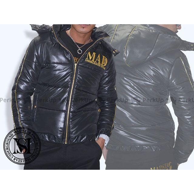 【エントリーでポイント10倍】 マッドスター MADSTAR ジャケット MS14NA35 プレート中綿ダウンJK(ブラック×金) M