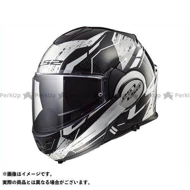 送料無料 LS2 HELMETS エルエスツー システムヘルメット(フリップアップ) VALIANT(ブラック/ホワイト/クローム) XL