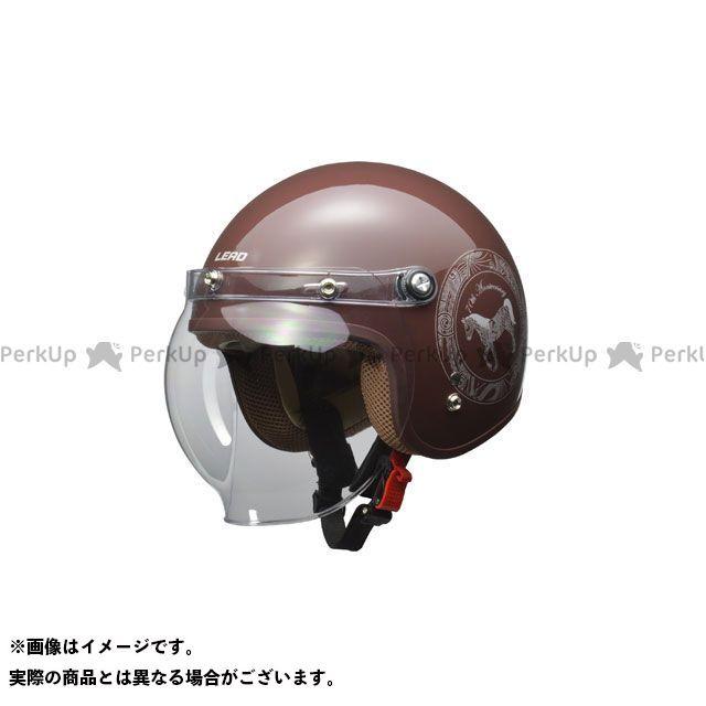LEAD工業 レディース・キッズヘルメット NOVIA バブルシールド付 スモールロージェットヘルメット(ブラウン) リード工業