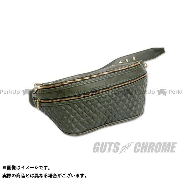 GUTS CHROME ツーリング用バッグ レザーウエストバッグ TYPE 1 ダークグリーン ガッツクローム