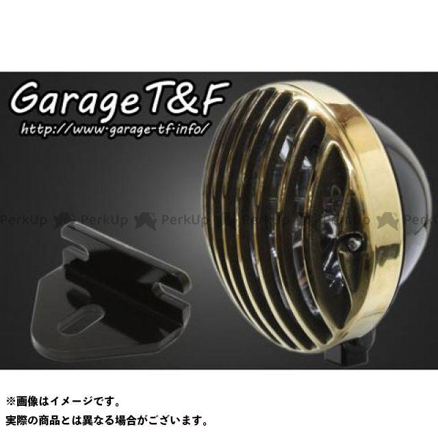 ガレージティーアンドエフ グラストラッカー グラストラッカービッグボーイ ヘッドライト・バルブ 5.75インチバードゲージヘッドライト&ライトステー(タイプF)キット ブラック 真鍮