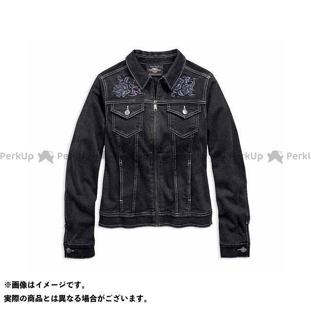 HARLEY-DAVIDSON レディースアパレル Ladies JKT/ Rose Black Denim Jacket サイズ:XS ハーレーダビッドソン