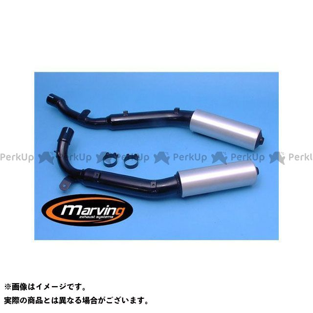 【エントリーで更にP5倍】Marving XLV750R マフラー本体 マービング デュアルマフラー Edr ブラック + アルミニウム for Honda XLV 750 R マービング