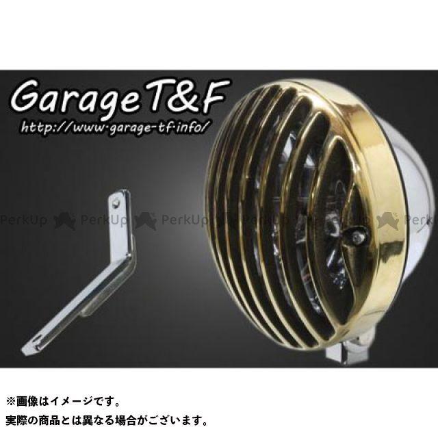 ガレージティーアンドエフ スティード400 ヘッドライト・バルブ 5.75インチバードゲージヘッドライト&ライトステー(タイプD)キット メッキ 真鍮