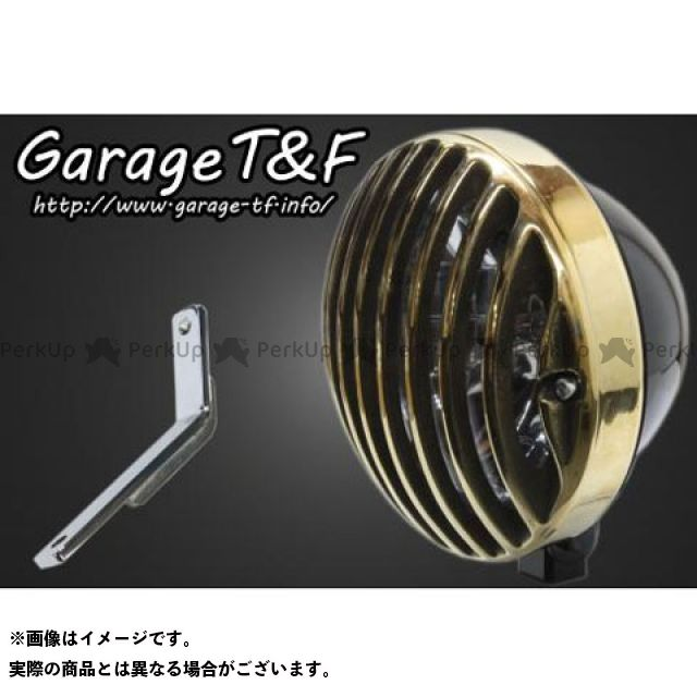 ガレージティーアンドエフ スティード400 ヘッドライト・バルブ 5.75インチバードゲージヘッドライト&ライトステー(タイプD)キット ブラック 真鍮
