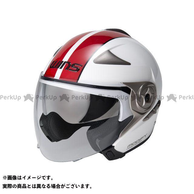 ウインズ ジェットヘルメット MODIFY JET GT STRIPE ホワイト/レッド L/58-59cm WINS
