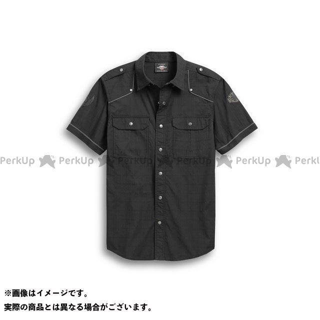 HARLEY-DAVIDSON カジュアルウェア Men's Accent Piping Skulll Wing Shirt(ブラック) サイズ:L ハーレーダビッドソン