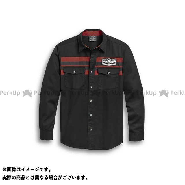 HARLEY-DAVIDSON カジュアルウェア Men's Chest Stripe Shirt(ブラック) サイズ:L ハーレーダビッドソン