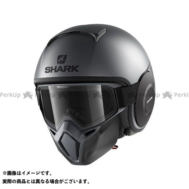 SHARK HELMETS ジェットヘルメット Street Drak Street-Neon Mat Helmet Anthracite Black サイズ:L シャークヘルメット