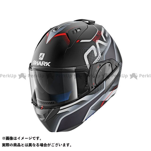 SHARK HELMETS システムヘルメット(フリップアップ) Evo-One 2 Keenser Mat Helmet Black silver Red サイズ:L シャークヘルメット