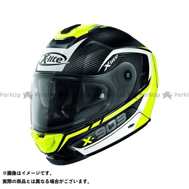 エックスライト フルフェイスヘルメット X-903 Ultra Carbon Cavalcade N-Com Helmet(ホワイト-イエロー-ブラック)X9U000367012 サイズ:2XL X-lite