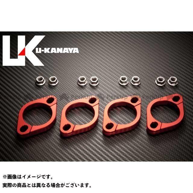 ユーカナヤ U-KANAYA その他マフラーパーツ 高精度アルミ削り出しビレットエキゾーストフランジ レッド