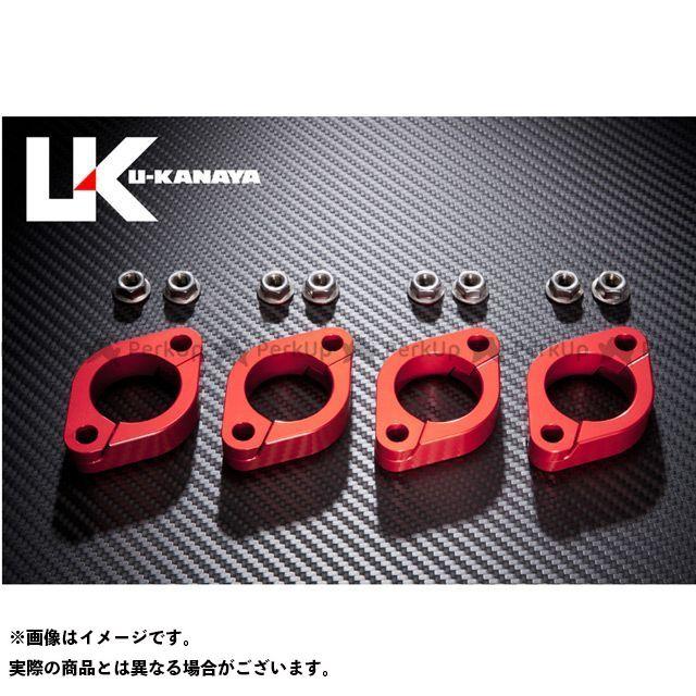 U-KANAYA ZRX400 ZRX400- その他マフラーパーツ 高精度アルミ削り出しビレットエキゾーストフランジ カラー:レッド ユーカナヤ