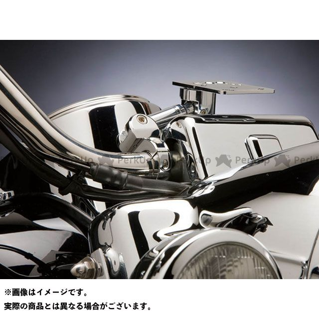 KIJIMA 汎用 ハンドル周辺パーツ テックマウント ハンドルバーマウント 1-1/8(28mm)&1-1/4(32mm)ハンドル対応 カラー:クローム ステー長:89mm(3.5シャフト) キジマ