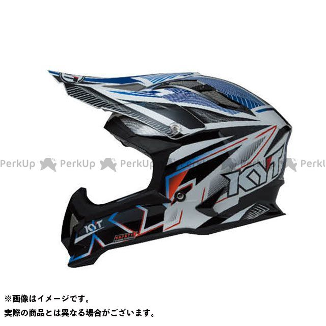 送料無料 KYT ケーワイティー オフロードヘルメット STRIKE EAGLE ストライプ ブルー フロー S/55-56cm