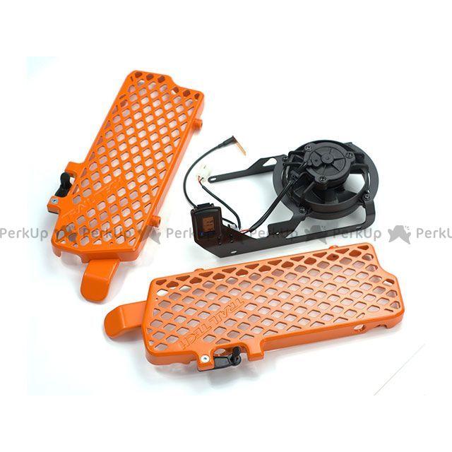 TRAIL TECH ケーティーエム汎用 クーリングファン デジタルクーリング(冷却)ファンキットとラジエーターガードキット オレンジ