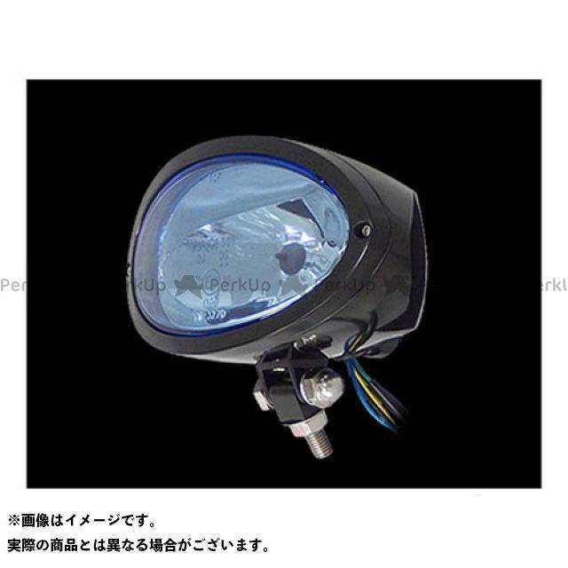 ネオファク ハーレー汎用 ヘッドライト・バルブ ビレットオーバルヘッドライト レンズ:ブルー ボディ:ブラック ネオファクトリー