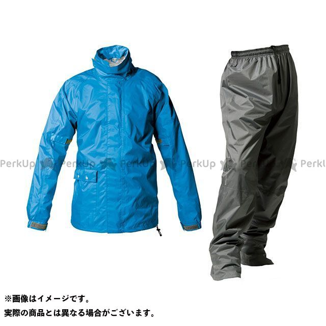MAKKU マック レインウェア バイクウェア マック レインウェア PT-7200 ツーリング 透湿レインスーツ ブルー EL MAKKU