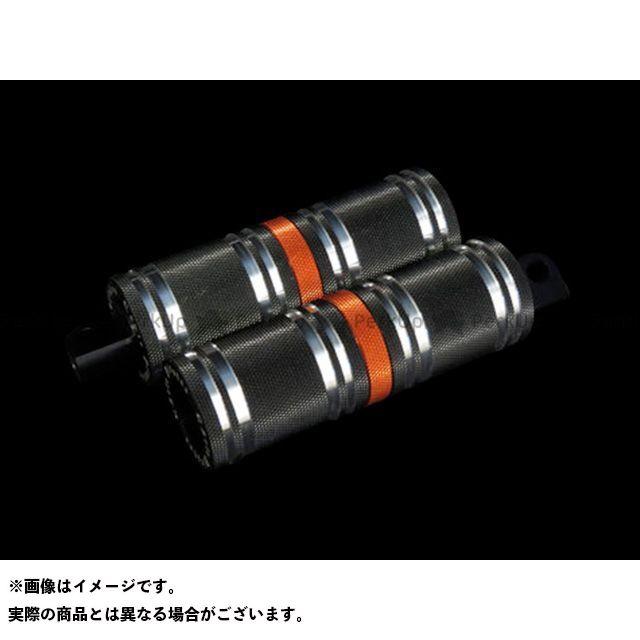 【無料雑誌付き】CYCLEPIRATES ハーレー汎用 ステップ ファットフットペグロング カラー:ブラック/オレンジアクセント サイクルパイレーツ