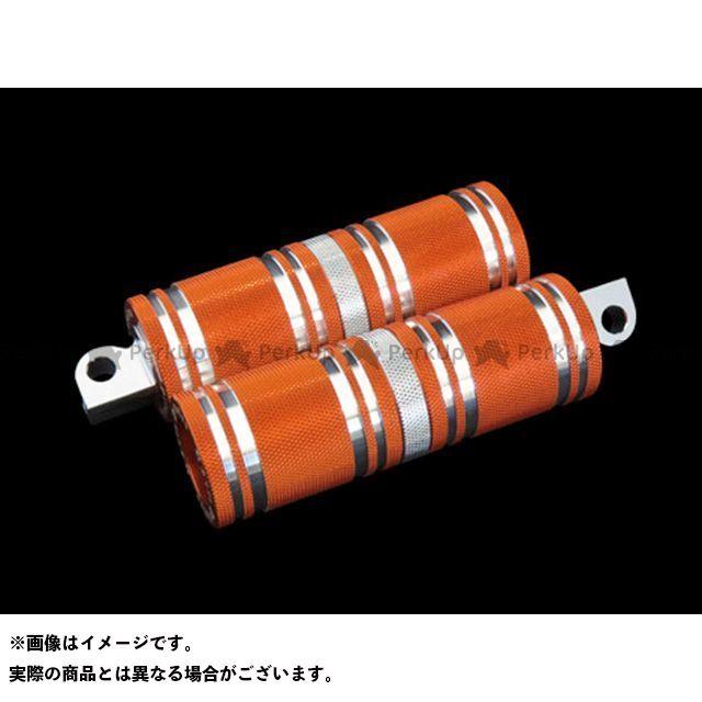【無料雑誌付き】CYCLEPIRATES ハーレー汎用 ステップ ファットフットペグロング カラー:オレンジ/クロームアクセント サイクルパイレーツ