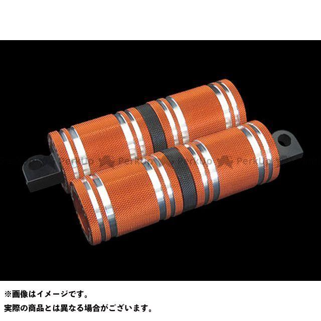 【無料雑誌付き】CYCLEPIRATES ハーレー汎用 ステップ ファットフットペグロング カラー:オレンジ/ブラックアクセント サイクルパイレーツ