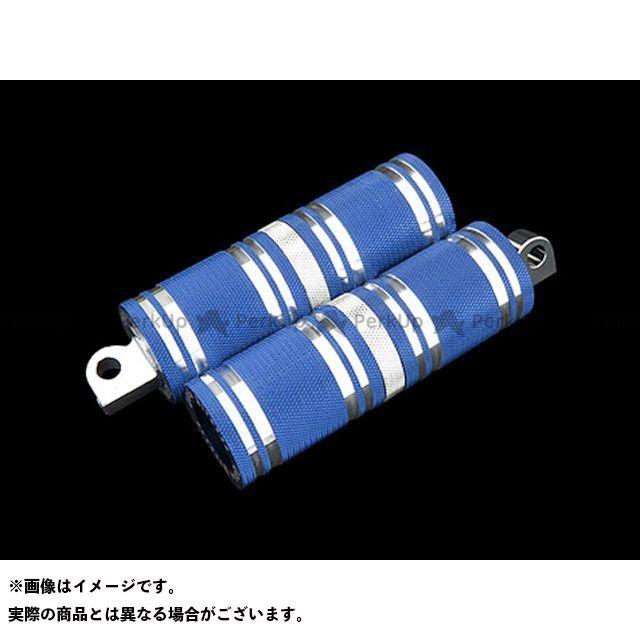 【無料雑誌付き】CYCLEPIRATES ハーレー汎用 ステップ ファットフットペグロング カラー:ブルーアルマイト/クロームアクセント サイクルパイレーツ