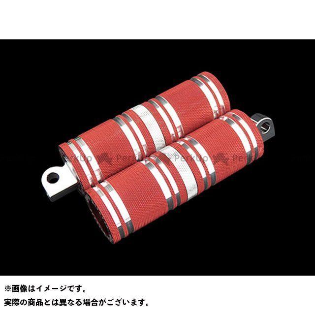 【無料雑誌付き】CYCLEPIRATES ハーレー汎用 ステップ ファットフットペグロング カラー:レッドアルマイト/クロームアクセント サイクルパイレーツ