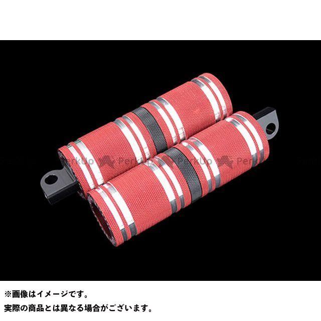【無料雑誌付き】CYCLEPIRATES ハーレー汎用 ステップ ファットフットペグロング カラー:レッドアルマイト/ブラックアクセント サイクルパイレーツ
