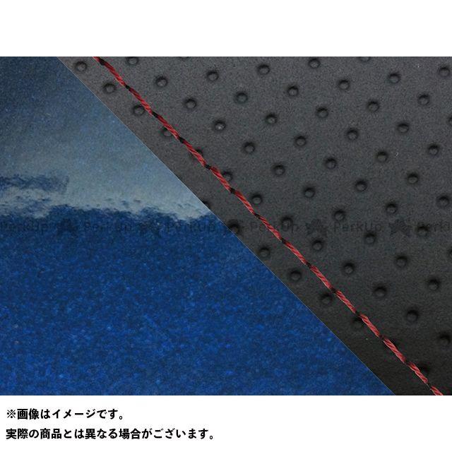 Grondement FZ1フェザー(FZ-1S) シート関連パーツ FZ1 フェザー(10年~)シングル(フロント側) グロンドマン国産シートカバー 張替(エンボス黒・エナメルメタリックブルー) 仕様:赤ステッチ グロンドマン