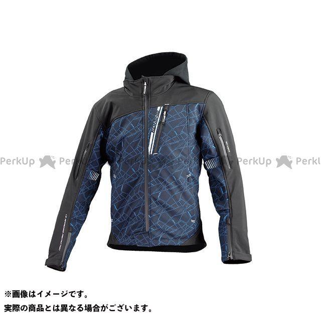 KOMINE ジャケット JK-590 プロテクトソフトシェルウインターパーカ(ブルークラッシュ/ブラック) サイズ:3XL コミネ