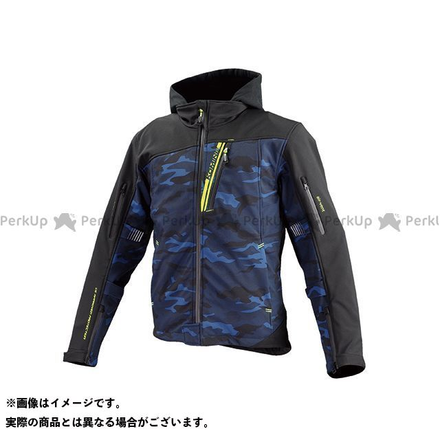 KOMINE ジャケット JK-590 プロテクトソフトシェルウインターパーカ(ブルーカモ/ブラック) サイズ:WS コミネ