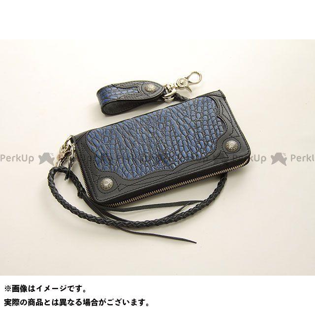 デグナー 財布 【特価品】 W-56CR クロコダイルエンボスレザージップウォレット(ブルー) DEGNER