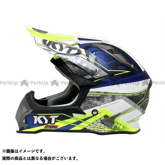 ケーワイティー オフロードヘルメット ストライクイーグル ウェブマット(ホワイト/ブルー) サイズ:S/55-56cm KYT