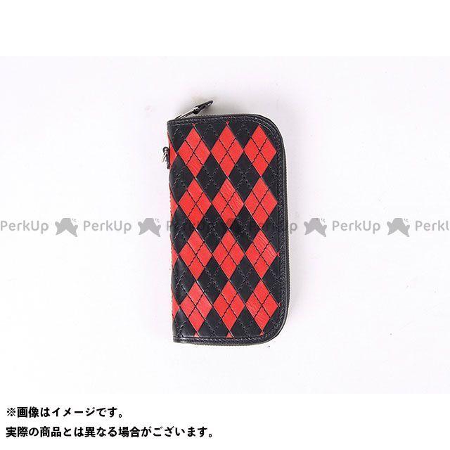 送料無料 DEGNER デグナー 財布 W-99 アーガイル調本革ロングZIPウォレット(ブラック/レッド)