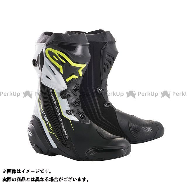 アルパインスターズ レーシングブーツ スーパーテックR ブーツ(ブラック/イエローフロー/ホワイト) サイズ:48 Alpinestars