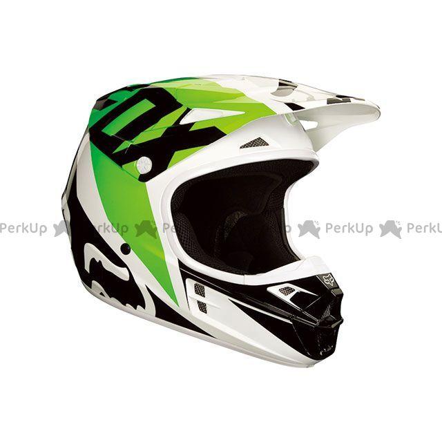 送料無料 FOX フォックス オフロードヘルメット V1 レース ヘルメット(ブラック/ホワイト/グリーン) XL/61-62cm