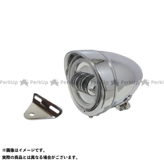ガレージティーアンドエフ ドラッグスター1100(DS11) ヘッドライト・バルブ 4.5インチロケットライト(メッキ) プロジェクターLED仕様(リング付き)&ライトステー(タイプA) キット