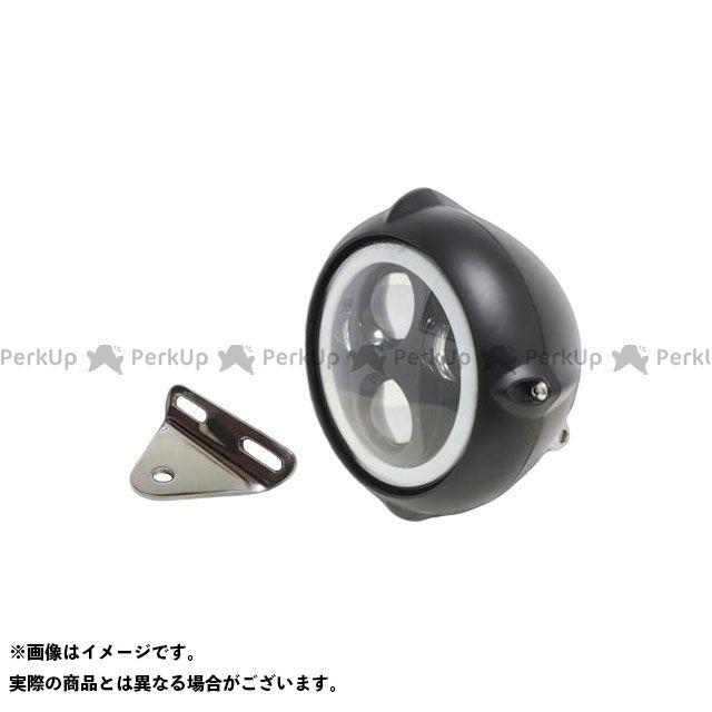 ガレージティーアンドエフ Vツインマグナ ヘッドライト・バルブ 5.75インチビンテージヘッドライト(ブラック) プロジェクターLED仕様(リング付き)&ライトステー(タイプA) キット