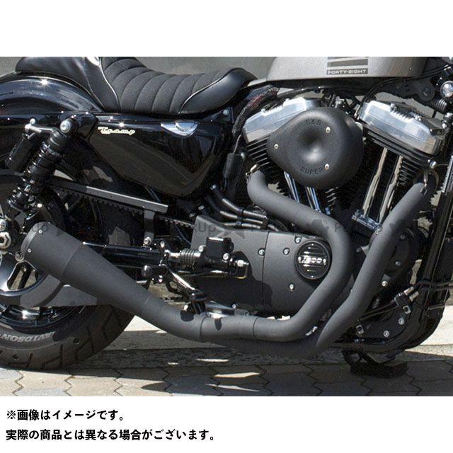 【エントリーで最大P21倍】Tramp Cycle スポーツスターファミリー汎用 マフラー本体 TMF-060E-BK Black Paint Fulltitanium Muffler 2in1 トランプ