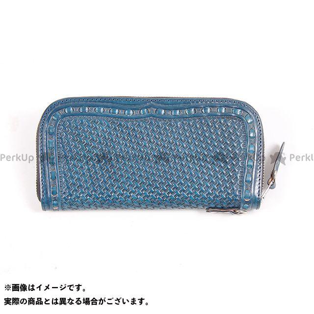デグナー 財布 W-87P パティーヌ&カービングレザージップウォレット(ブルー) DEGNER