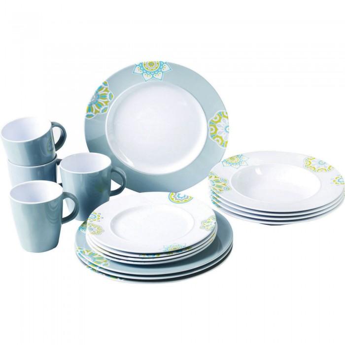 (サンシャ) Sandhya 柄入り メラミン プラスチック 食器 16点セット 皿 プレート マグカップ ディナーウェア 【海外直送】